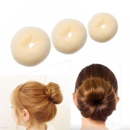 cute hairstyles 2019 - Cute 3 Sizes Beige Donut Hair Ring Bun Women Lady Girl Hair Styling Ring Bun Hairstyle Accessories Tool Fashion cheap cu