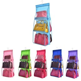 $enCountryForm.capitalKeyWord Australia - 6 Pocket Hanging Handbag Organizer for Bag Collect Wardrobe Closet Dustproof Storage Bag Door Wall Sundry Shoe Bag with hook up