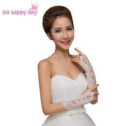 white fingerless wedding long gloves Australia - Ivory White Wedding Bride Gloves Lace Beaded Bridal Dress Luxury Long Fingerless Accessories Evening Party Wedding Hand