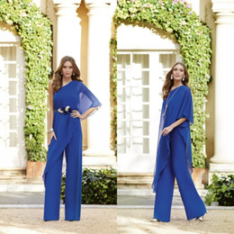 $enCountryForm.capitalKeyWord Australia - 2019 Royal Blue Mother Bride Chiffon Trouser Suits One Shoulder Custom Made Mother Of The Bride Dresses Pant Suits Wedding Guest Wear