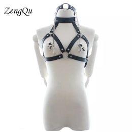 $enCountryForm.capitalKeyWord Australia - Faux Leather New goth female stocking suspender belt Sexy Vanessa Garter Belt body binding Neck harness constraint underwear