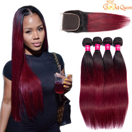 burgundy hair wefts 2021 - Ombre Peruvian Straight Hair Weave Bundles With Closure 1B Burgundy Two Tone Colored Remy Human Hair Wefts With Closure