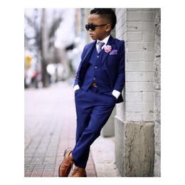Kid Brown Suit Australia - Royal Blue Boy Wedding Tuxedos 2019 Two Button Notched Lapel Kids Party Suit Ring Bearer Suits( jacket+pants+vest+tie)