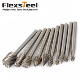 carbide alloy drill bit Australia - drill bit set 10 Pieces 1 8 HSS Routing Router Drill Bits Set Dremel Carbide Rotary Burrs Tools Wood Stone Metal Root Carving