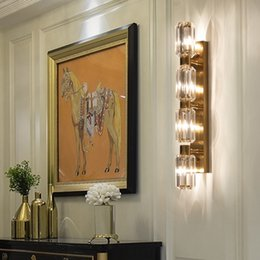gold wall lighting NZ - New arrival American creative crystal wall lamps wall lighting fixture gold wall mount lights led sconce light for bedside porch ktichen