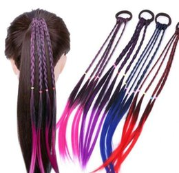 Wholesale New Girls Colorful Wigs Ponytail Hair Ornament Headbands Rubber Bands Beauty Hair Bands Headwear Kids Hair Accessories Head Band