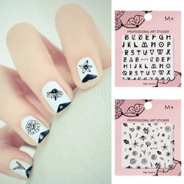 Pink rose decals online shopping - 1Pc DIY Nail Art Stickers Line Rose Water Decals Embossed Another Flower English Letter Number Blooming Flower Decals Manicure