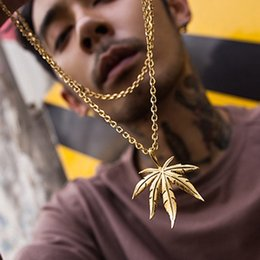 Simple Gold Pendant For Men NZ - 8 Pcs   Lot Simple Maple Leaf Small Gold And Silver Pendant Necklace Hip Hop Leaf-shaped clavicle chain Jewelry For Women And Men
