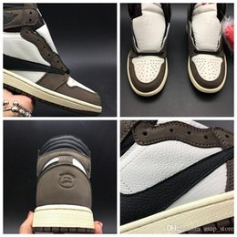 shoe box canvas NZ - Travis Scotts x 1s High OG Men Basketball Sports Shoes Sneakers High Quality Trainers With Original Box US7-13