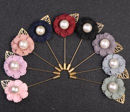 $enCountryForm.capitalKeyWord Australia - Cloth Flower Boutonniere Stick Brooch Pear Pin with Leaf Mens Suit Accessories Woman Cloth Lapel Pin Brooch best Jewelry gifts