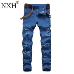 $enCountryForm.capitalKeyWord Australia - NXH Ripped Skinny Jeans Men Stretch Motor Biker Long jeans Cotton Casual Trousers Hip hop Streetwear Double waist Red Orange