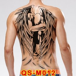 $enCountryForm.capitalKeyWord Australia - 48*34cm Large Tattoo Stickers 20 New Designs Dark Angel Fish Wolf Buddha Temporary Flash Tattoos Full Back Body Paint Cool Men T190711