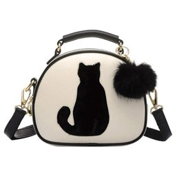 Women Pu Leather Crossbody Shoulder Bag Cute Cat Pattern Handbag With Plush Ball  Messenger Tote Hand Bags Ladies Girls Handbags 21d8bc4e221c7