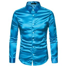 Long goLd downs online shopping - Shirt Men White Shirt Long Sleeve Slim Fit Male Silk Casual Button Down Men Dress Shirts