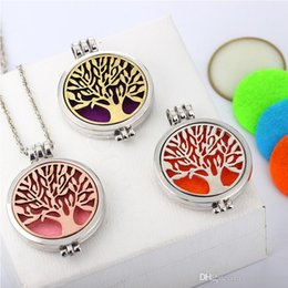 Perfume Diffuser Necklace Australia - Creative Tree Of Life Censer Aromatherapy Locket Essential Oil Diffuser Floating Pendant Necklaces Perfume Necklace Free DHL B174S A