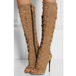 a7e700f6ddf 2019 New Lace-Up Knee High Boots Women Peep Toe Sexy Stilettos Gladiator  Sandals Hollow Side Zipper Fashion Spring Shoes Woman