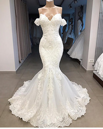 Organza Mermaid Wedding Dress Feathers Australia - 2019 Sexy Fill Lace Mermaid Wedding Dress Vintage Bohemian Beach Bridal Gown With Feathers Off Shoulder Plus Size Custom Made