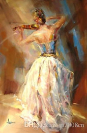 $enCountryForm.capitalKeyWord Australia - Handpainted & HD Art Print beautiful Impressionist Girl with her violin Oil Painting On High Quality Canvas Home Wall Decor Multi Size p06