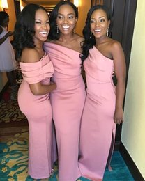 Wholesale long reds bridesmaids dress for sale – plus size African Pink One Shoulder Satin Long Bridesmaid Dresses Ruched Side Split Sweep Train Wedding Guest Maid Of Honor Dresses BM1560