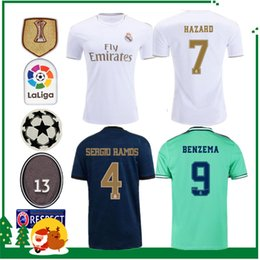 player soccer jerseys Canada - Player version 19 20 Real madrid HAZARD Soccer Jersey Benzema football Modric Kroos Sergio Ramos Bale Marcelo james 2019 2020 home shirts