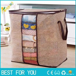 Storage Beds Australia - New Hot Non-woven Portable Clothes Storage Bag Organizer 45.5*51*29cm Folding Closet Organizer For Pillow Quilt Blanket Bedding