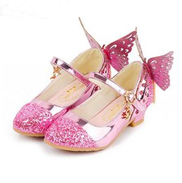 Blue Party Shoes For Girls Australia - Baby Princess Girls Shoes Sandals For Kids Glitter Butterfly Low Heel Children Shoes Girls Party Enfant meisjes schoenen Dance shoes Prom