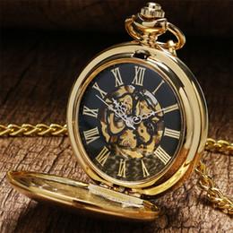 $enCountryForm.capitalKeyWord Australia - Golden Shield Mechanical Pocket Watch Steampunk Fob Watch Vintage Hand Winding Pocket Pendant Watch Gifts for Men Women reloj