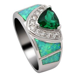 59343f285a Top Quality Women Fire Opal Rings green pink Cz Zircon Elegant Wedding  Engagement Silver Color Love Promise Finger Rings Jewelry