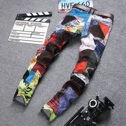 Wholesale Mens Jeans Designer Straight Motorcycle Biker Flag Jeans Streetwear Style Colourful Flag Skinny Denim Pants Clothing