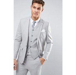 $enCountryForm.capitalKeyWord Australia - Light Grey New Men's Slim Fit Latest Suits Men Custom Made Skinny Suits Men Wedding Suits Best Man 3 Pieces Set YM