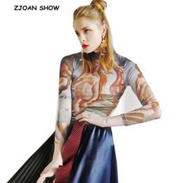 $enCountryForm.capitalKeyWord Australia - Baroque Sexy Woman Oil painting Character Mesh T-Shirt Vintage High Collar See Through Long sleeve Tattoo Tee shirt Slim Tops