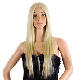 HealtHy wigs online shopping - Fashion Blonde Healthy Hair Women Long Straight Hair Cosplay Party Full Wig heat resistant fibers Hair wigs