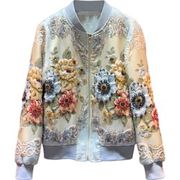 Discount top designer jackets women - 2019 New Designer Custom Made Autumn Winter Outwear Jackets Women's Vintage Gold Line Jacquard Beading luxury Tops