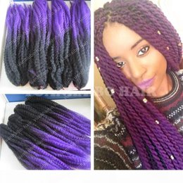 marley kinky braid hair UK - A Factory Cheap 20inch Black Purple Synthetic Kinky Twist Marley Braids Ombre Braiding Hair For Black Women Free Shipping