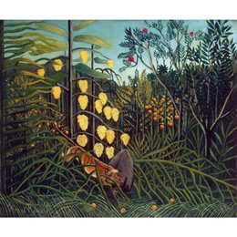 landscapes forests paintings NZ - Tropical Forest Battling Tiger and Buffalo oil painting Henri Rousseau hand painted Landscapes artwork paintings for wall decor