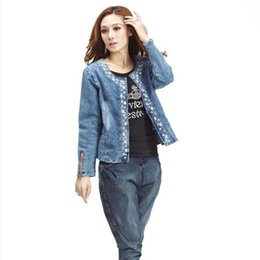 DiamonD Denim women jeans online shopping - Plus Size XL jeans jacket women Denim Patchwork Outwear Jeans Coat For Women Retro Long sleeved Rivets Jacket W493