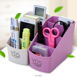 Pens Pencils Case Organizer Australia - Multifunctional Desk Organizer 4 Slots Desktop Storage Box Case Pen Pencil Holder Plastic Cosmetics Make Up Organizer
