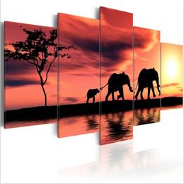 $enCountryForm.capitalKeyWord Australia - ( No Frame)5PCS Set Modern Africa Three Elephant Family Art Print Frameless Canvas Painting Wall Picture Home Decoration