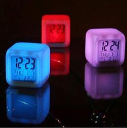 Night Glowing Plastic Australia - Creative Digital Alarm Thermometer Night Glowing Cube 7 Colors Square Shape Clock LED Change Table Clock