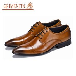 Male Leather Shoes Sale Australia - GRIMENTIN Italian fashion designer black mens dress shoes hot sale leather oxford shoes genuine leather formal business brown male shoes new