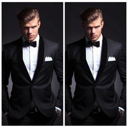 $enCountryForm.capitalKeyWord Australia - High Quality Black 2020 Custom Mens Wedding Suits With Black Lapel Slim Fit Grooms Tuxedo Two Pieces Cheap Prom Suit(Jacket+Pants+Bow Tie)