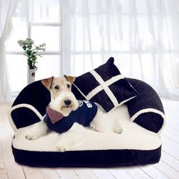 De lujo doble amortiguador del animal doméstico del sofá camas para perros con una almohada desmontable de lavado suave paño grueso y suave del gato cama caliente pequeña cama del perro en venta