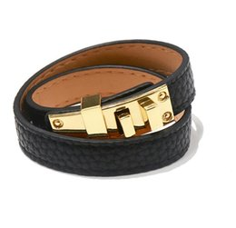 $enCountryForm.capitalKeyWord UK - 2019 Vintage Multilayer Pu Leather H Bracelets for women Cuff bangles Men gold buckle Wristband Pulseras Hombre Male Accessories Jewelry