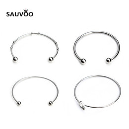 Silver bracelet blankS cuff online shopping - Sauvoo Silver Color Stainless Steel Blank Open Expandable Wire Cuff Bangle Bracelets for Women Fashion Simple Party Jewelry
