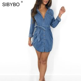 t shirt dress winter Australia - YIBO Button Sashes Sexy Denim Dress Long Sleeve Pockets Loose t Shirt Dress Women 2018 Autumn Winter Mini Party Dresses party