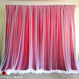 red stage curtains UK - Wedding decoration romantic Ice silk stage curtains backdrop with organza wedding backdrops for birthday party banquet decor