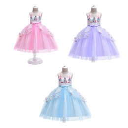 Chinese  Kids Girls Unicorn Wedding Dresses 7+Halloween Mesh Lace TUTU Dress Sleeveless Bow Tie Sash Beaded Solid Dress Perform Party Clothes 3-8T manufacturers