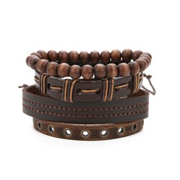 Diy Multi Layer Bracelet Australia - The Latest European and American DIY Cowhide Multi-layer Combination Set Bracelet Hand-woven Beaded Bracelet Rope