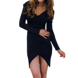 c23ff30ee111 Sexy V-neck Irregular Women Split Mini Dresses Autumn Skinny Solid Dresses  Outwear Slim Sheath Pink Black Dress Plus Size GV163