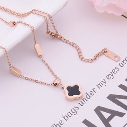 China Luxury Wholesale Jewelry NZ - Wholesale luxury jewelry designer necklace for women titanium steel clover pendant necklace hot fashion free of shipping